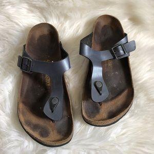 Birkenstock Gizeh Metallic Deep Blue Sandals 41/10